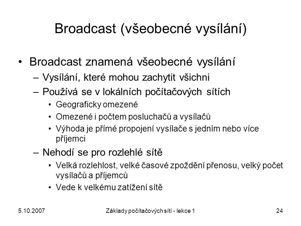 5.10.2007Základy počítačových sítí - lekce 124 Broadcast (všeobecné vysílání) Broadcast znamená všeobecné vysílání –Vysílání, které mohou zachytit vši