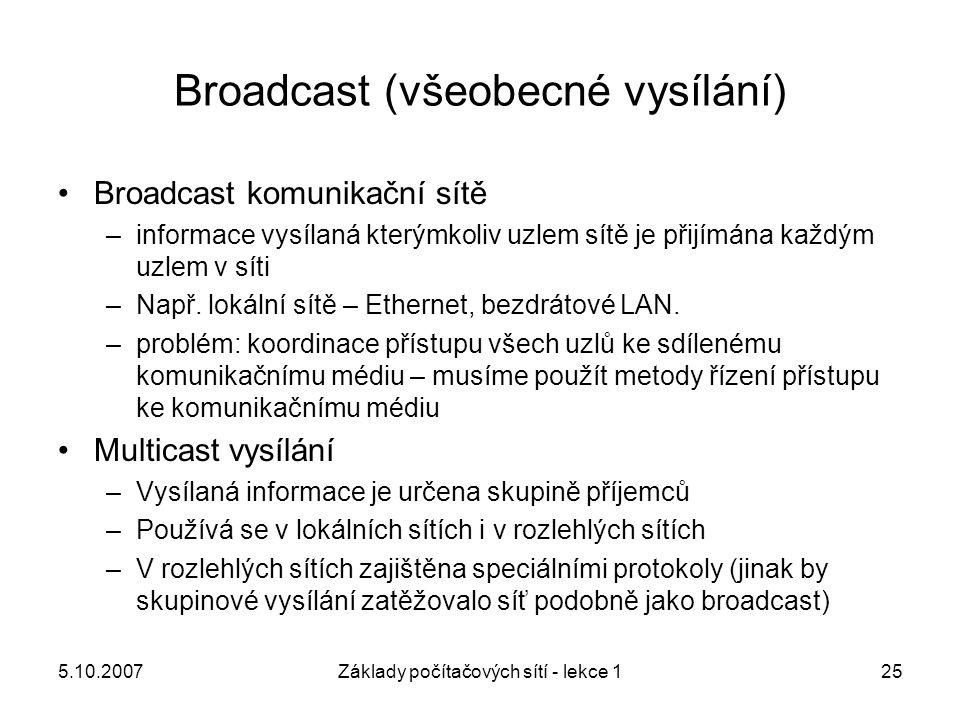 5.10.2007Základy počítačových sítí - lekce 125 Broadcast (všeobecné vysílání) Broadcast komunikační sítě –informace vysílaná kterýmkoliv uzlem sítě je