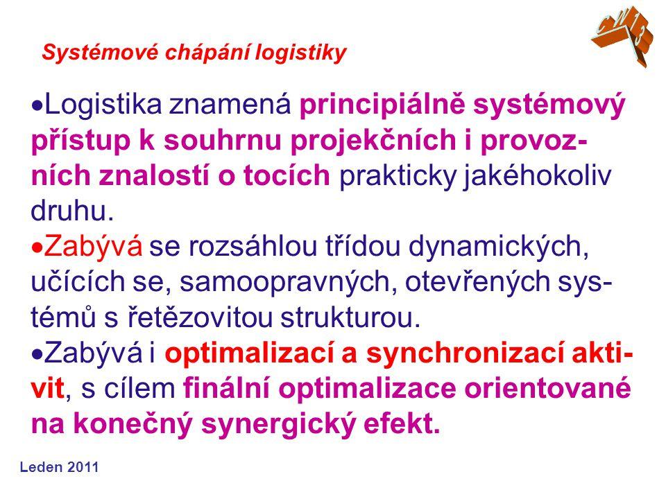 Leden 2011  Logistika znamená principiálně systémový přístup k souhrnu projekčních i provoz- ních znalostí o tocích prakticky jakéhokoliv druhu.