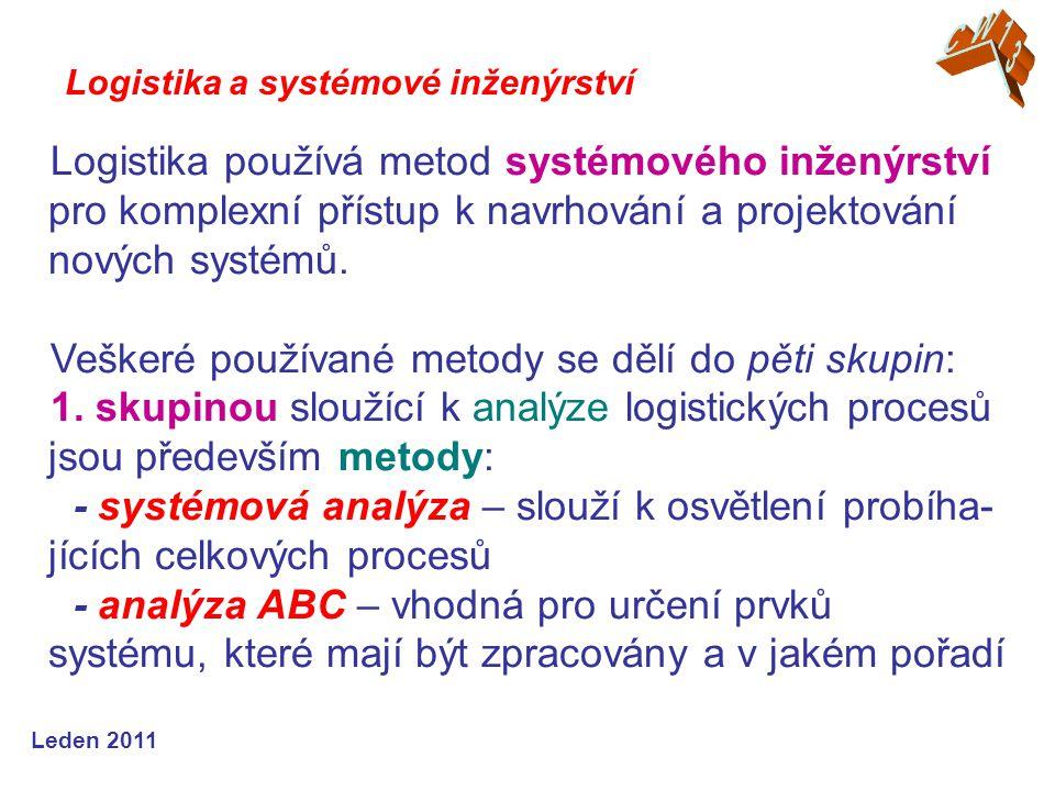 Leden 2011 Logistika používá metod systémového inženýrství pro komplexní přístup k navrhování a projektování nových systémů.