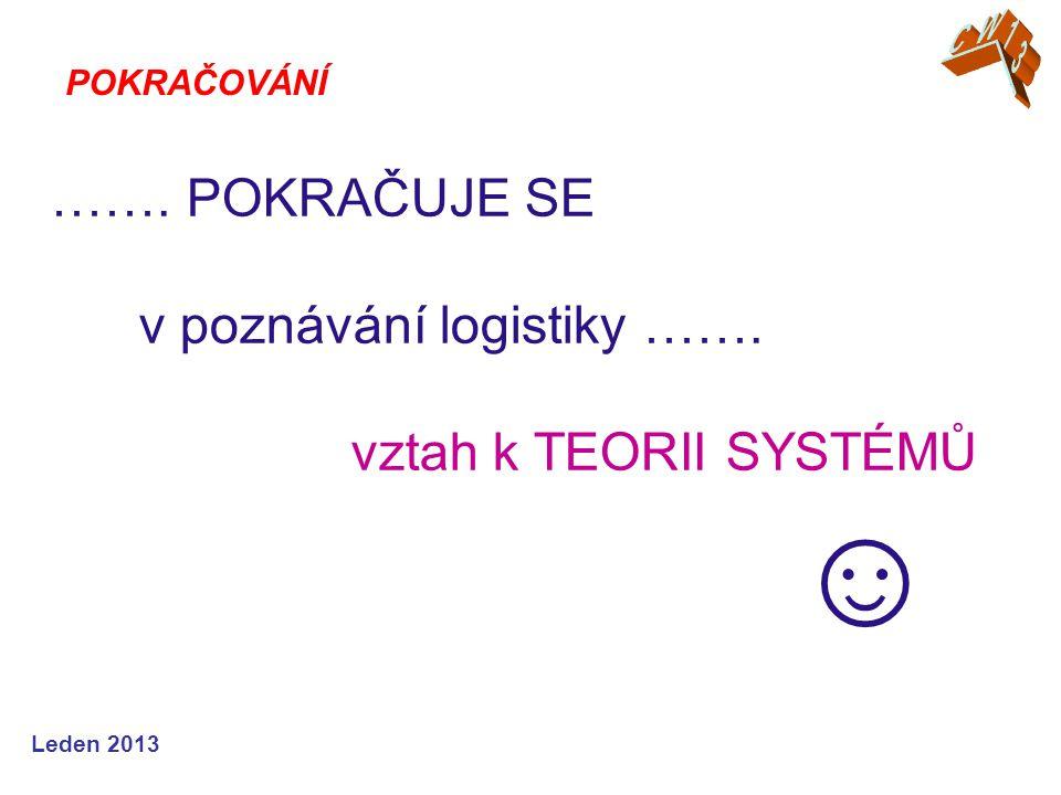Leden 2013 ……. POKRAČUJE SE v poznávání logistiky ……. vztah k TEORII SYSTÉMŮ ☺ POKRAČOVÁNÍ