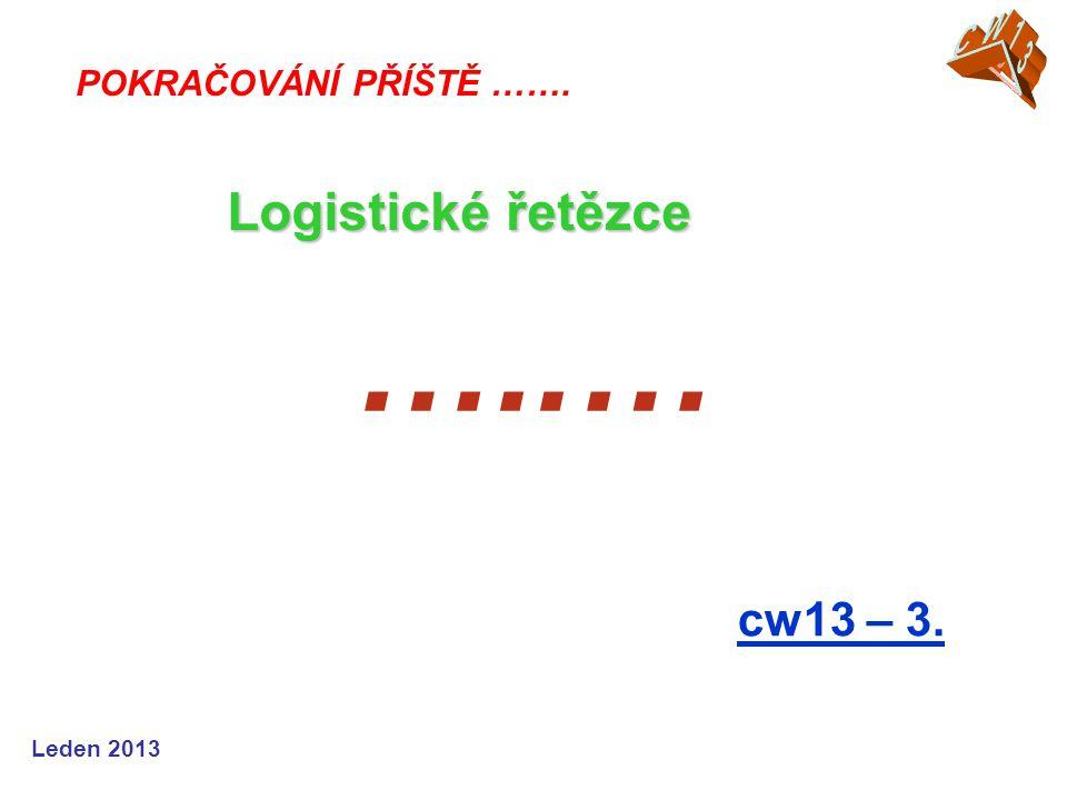 Leden 2013 …..… cw13 – 3. POKRAČOVÁNÍ PŘÍŠTĚ ……. Logistické řetězce