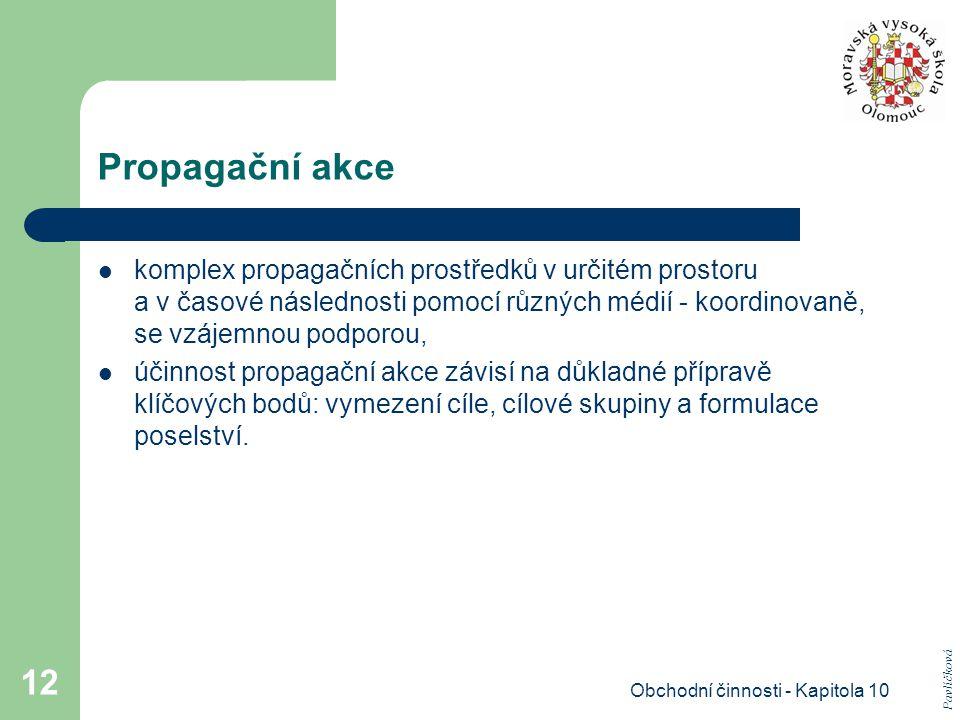 Obchodní činnosti - Kapitola 10 12 Propagační akce komplex propagačních prostředků v určitém prostoru a v časové následnosti pomocí různých médií - ko
