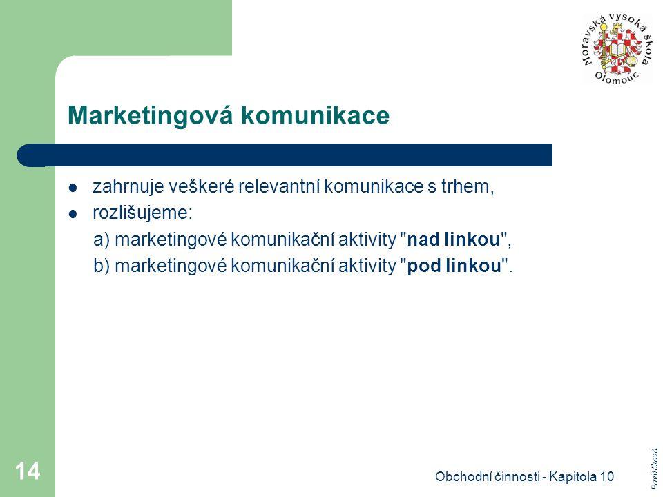 Obchodní činnosti - Kapitola 10 14 Marketingová komunikace zahrnuje veškeré relevantní komunikace s trhem, rozlišujeme: a) marketingové komunikační ak