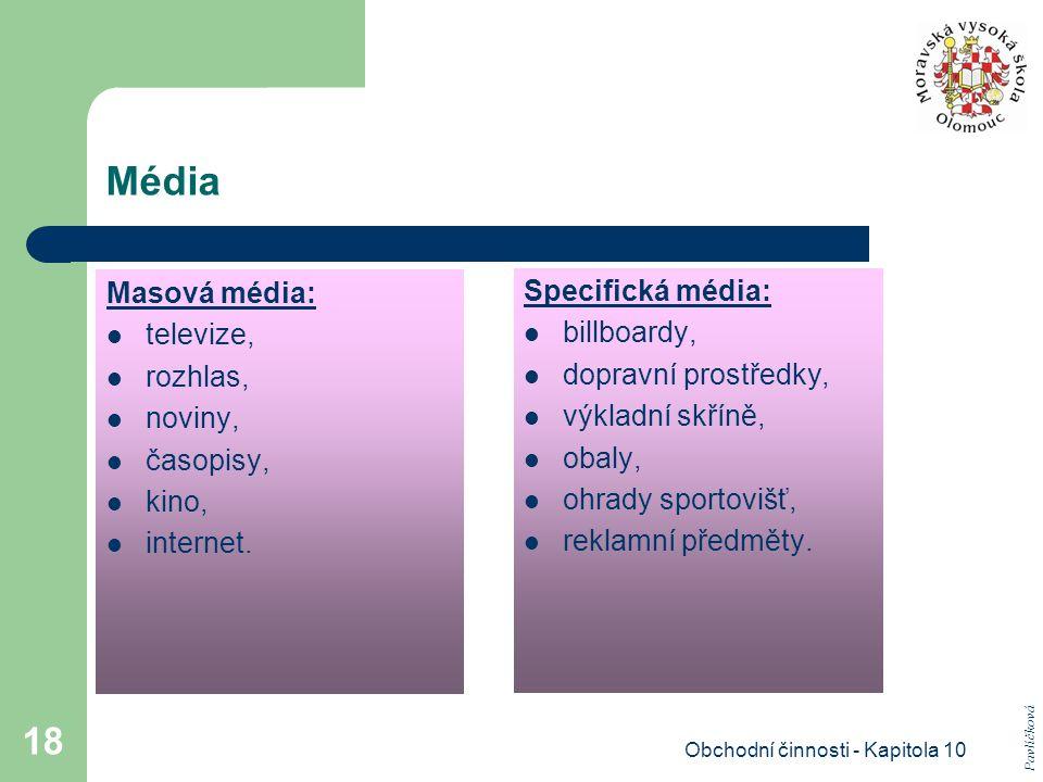 Obchodní činnosti - Kapitola 10 18 Média Masová média: televize, rozhlas, noviny, časopisy, kino, internet. Specifická média: billboardy, dopravní pro