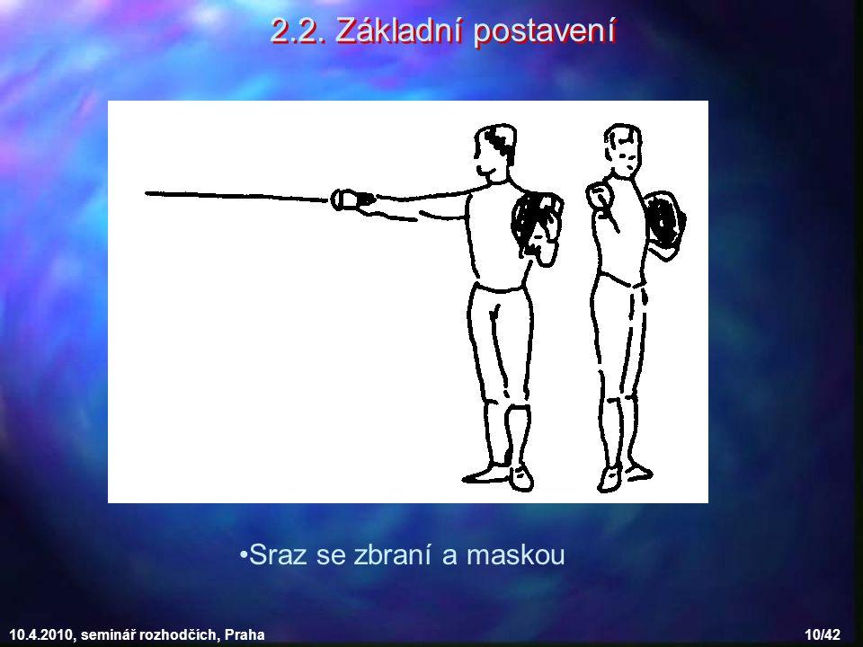 10.4.2010, seminář rozhodčích, Praha 10/42 2.2. Základní postavení Sraz se zbraní a maskou
