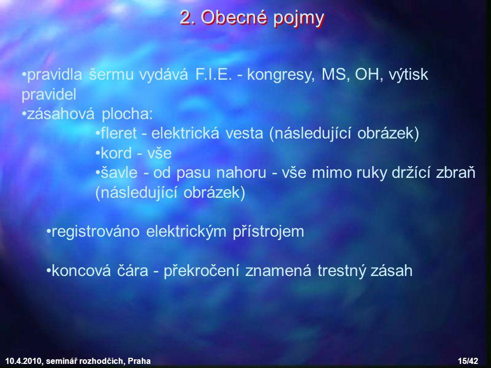10.4.2010, seminář rozhodčích, Praha 15/42 pravidla šermu vydává F.I.E. - kongresy, MS, OH, výtisk pravidel zásahová plocha: fleret - elektrická vesta