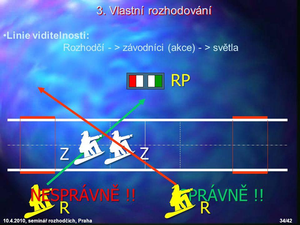 10.4.2010, seminář rozhodčích, Praha 34/42 Linie viditelnosti: Rozhodčí - > závodníci (akce) - > světla RRRR RP ZZZZ ZZZZ 3. Vlastní rozho