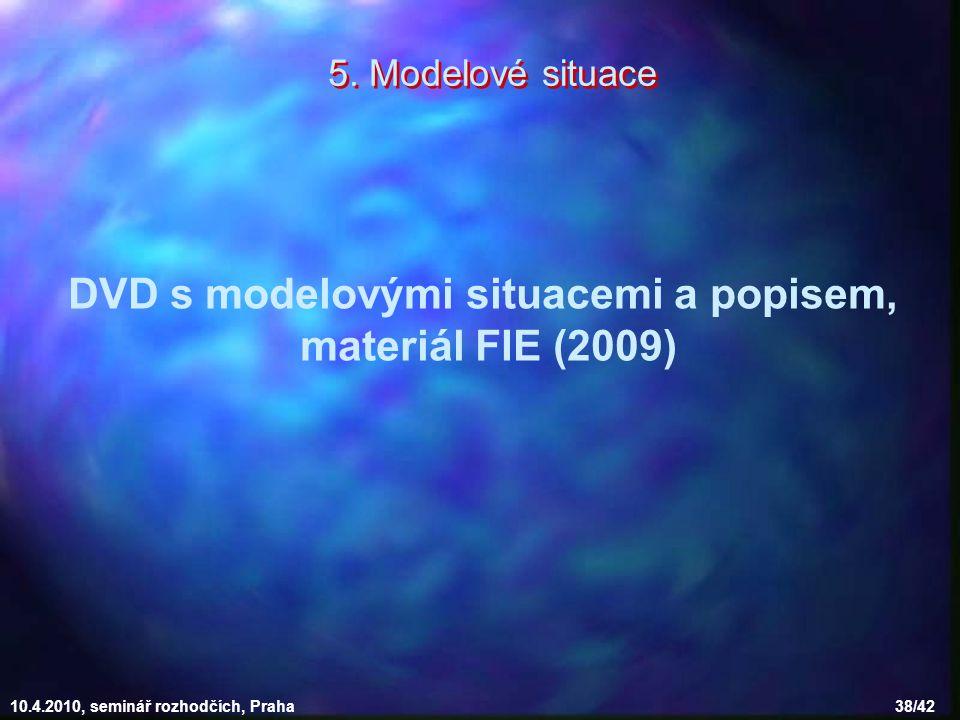 10.4.2010, seminář rozhodčích, Praha 38/42 5. Modelové situace DVD s modelovými situacemi a popisem, materiál FIE (2009)