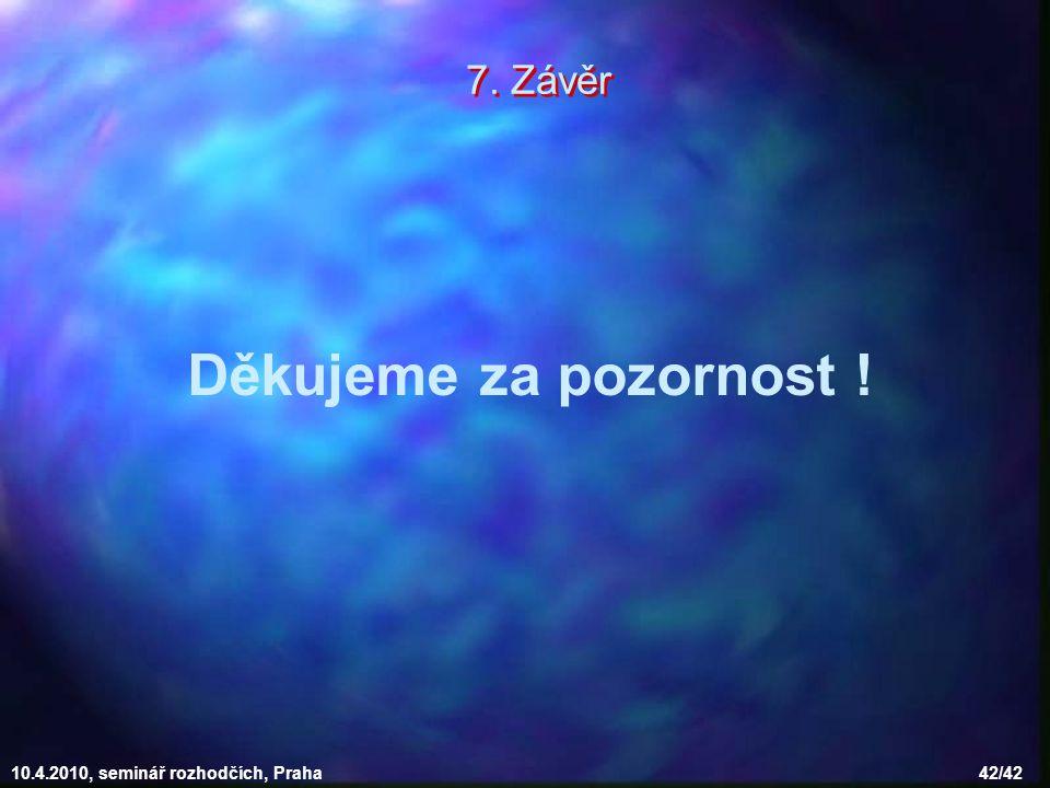10.4.2010, seminář rozhodčích, Praha 42/42 Děkujeme za pozornost ! 7. Závěr