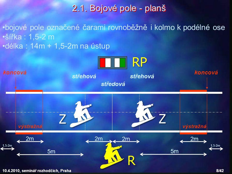 10.4.2010, seminář rozhodčích, Praha 8/42 bojové pole označené čarami rovnoběžně i kolmo k podélné ose šířka : 1,5-2 m délka : 14m + 1,5-2m na ústup 2
