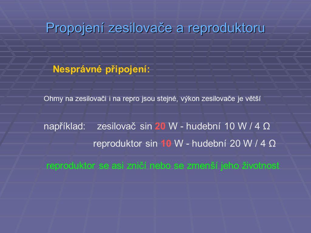 Propojení zesilovače a reproduktoru Nesprávné připojení: Ohmy na zesilovači i na repro jsou stejné, výkon zesilovače je větší například: zesilovač sin