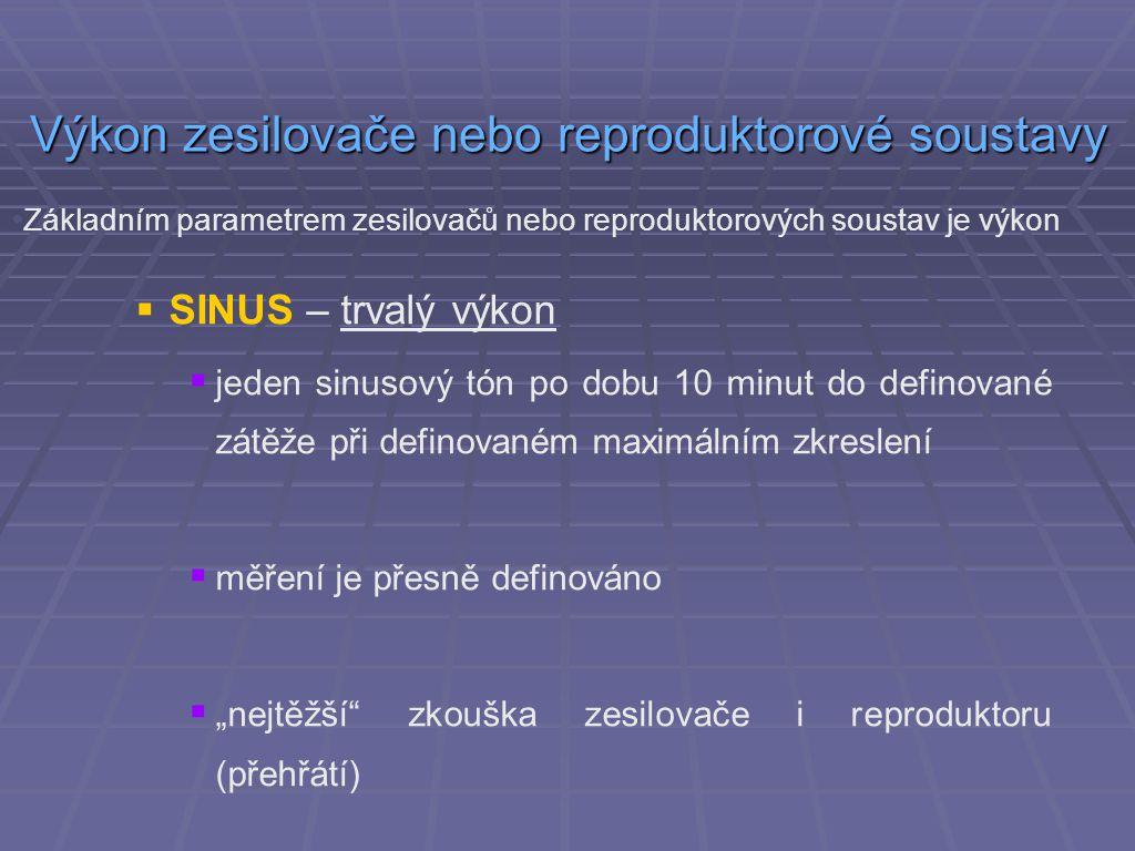  SINUS – trvalý výkon  jeden sinusový tón po dobu 10 minut do definované zátěže při definovaném maximálním zkreslení  měření je přesně definováno 