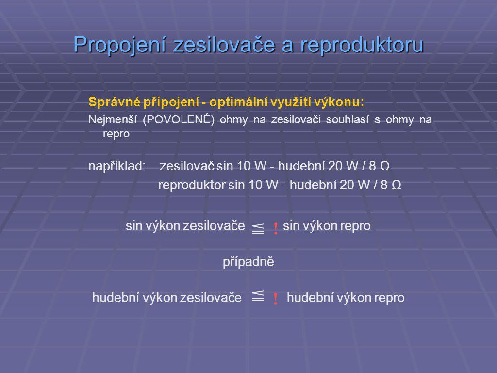 Propojení zesilovače a reproduktoru Správné připojení - optimální využití výkonu: Nejmenší (POVOLENÉ) ohmy na zesilovači souhlasí s ohmy na repro například: zesilovač sin 10 W - hudební 20 W / 8 Ω reproduktor sin 10 W - hudební 20 W / 8 Ω sin výkon zesilovače sin výkon repro případně hudební výkon zesilovače hudební výkon repro .