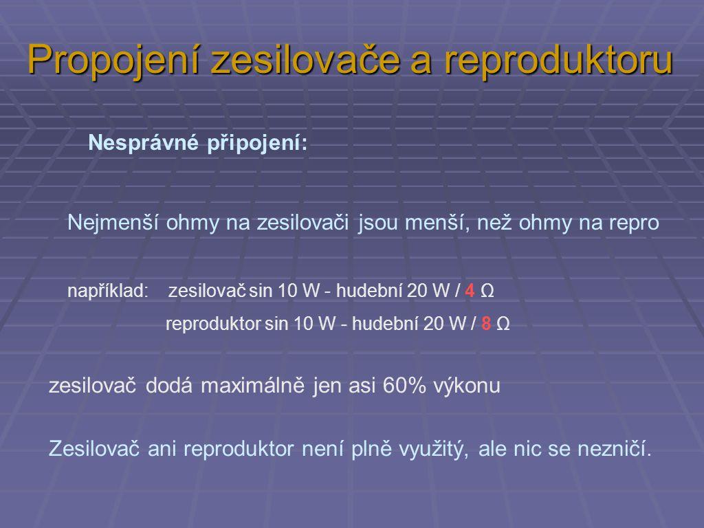Nesprávné připojení: Nejmenší ohmy na zesilovači jsou menší, než ohmy na repro například: zesilovač sin 10 W - hudební 20 W / 4 Ω reproduktor sin 10 W