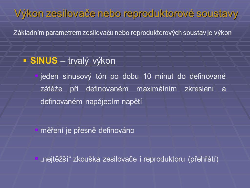  SINUS – trvalý výkon  jeden sinusový tón po dobu 10 minut do definované zátěže při definovaném maximálním zkreslení a definovaném napájecím napětí