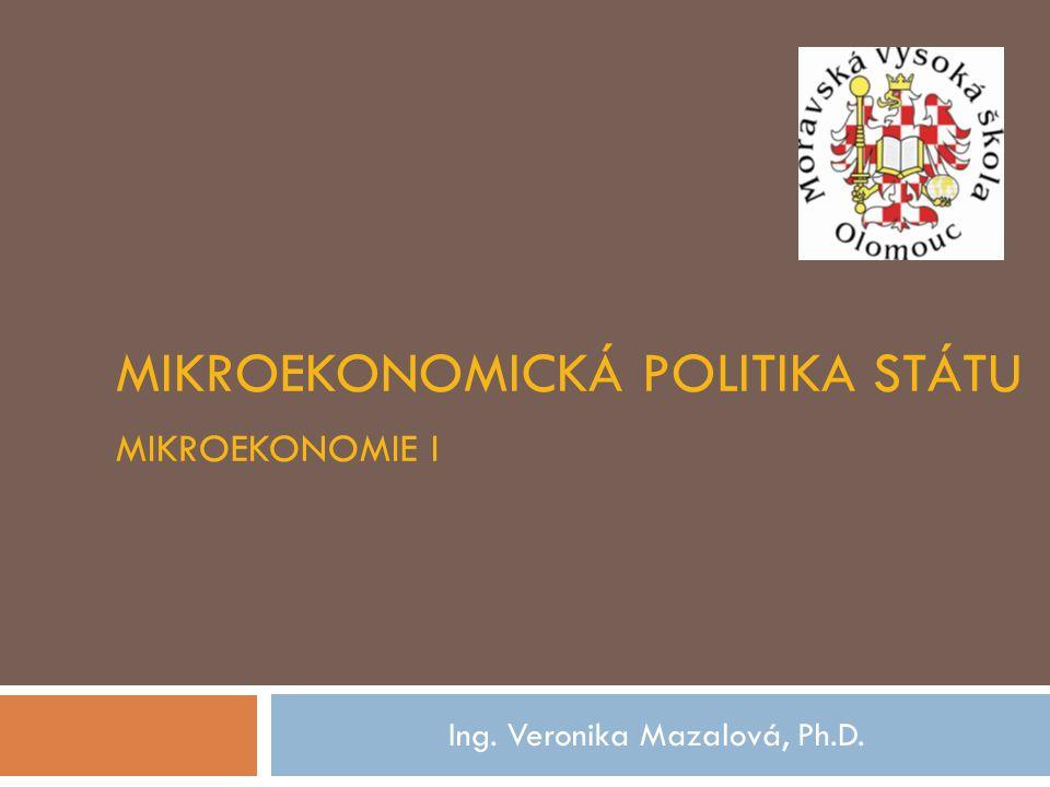 MIKROEKONOMICKÁ POLITIKA STÁTU MIKROEKONOMIE I Ing. Veronika Mazalová, Ph.D.