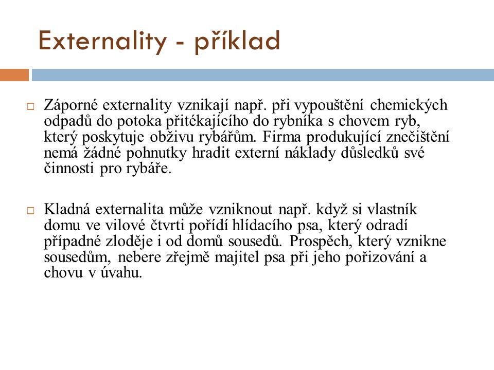 Externality - příklad  Záporné externality vznikají např. při vypouštění chemických odpadů do potoka přitékajícího do rybníka s chovem ryb, který pos