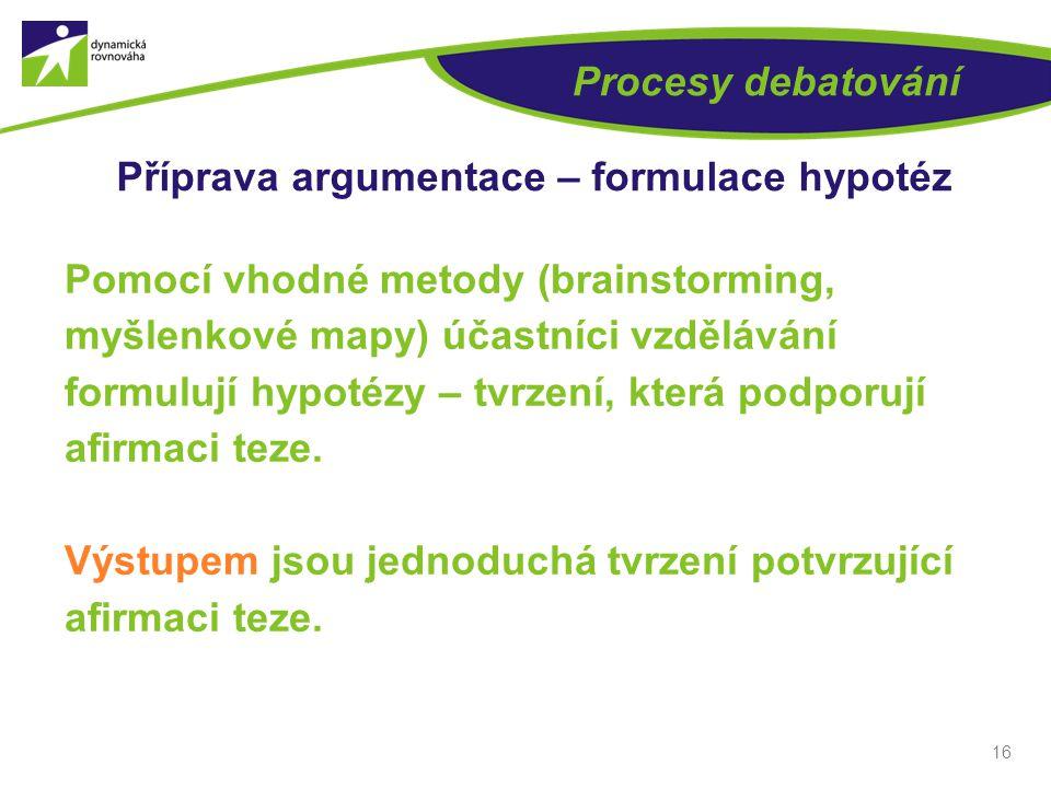 16 Procesy debatování Příprava argumentace – formulace hypotéz Pomocí vhodné metody (brainstorming, myšlenkové mapy) účastníci vzdělávání formulují hypotézy – tvrzení, která podporují afirmaci teze.