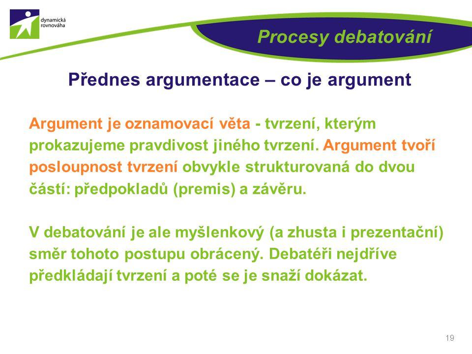 19 Procesy debatování Přednes argumentace – co je argument Argument je oznamovací věta - tvrzení, kterým prokazujeme pravdivost jiného tvrzení.