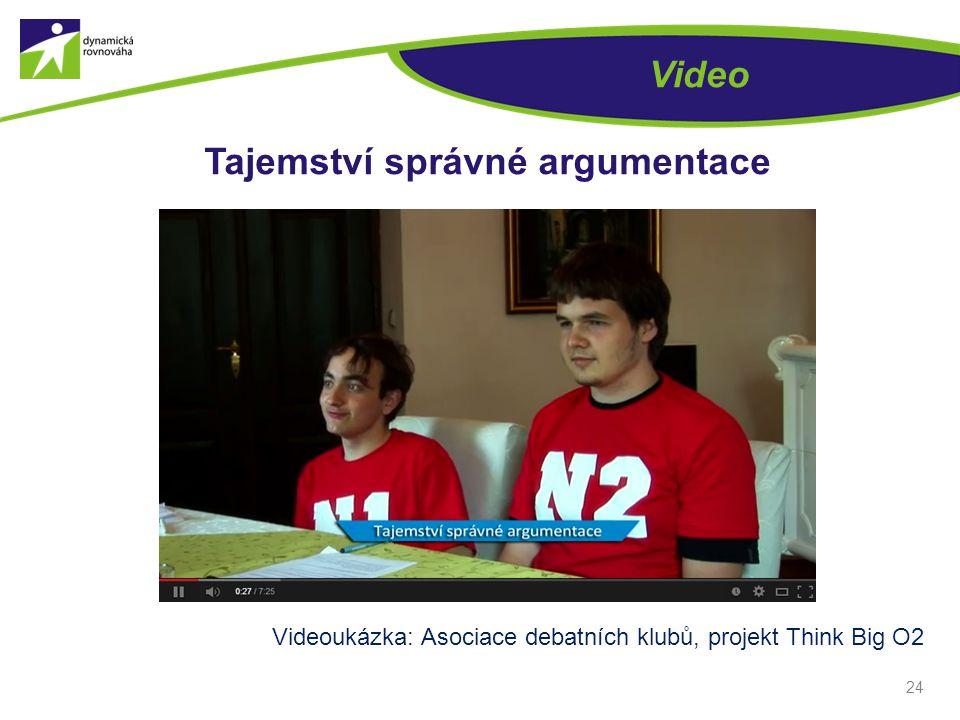 24 Video Tajemství správné argumentace Videoukázka: Asociace debatních klubů, projekt Think Big O2