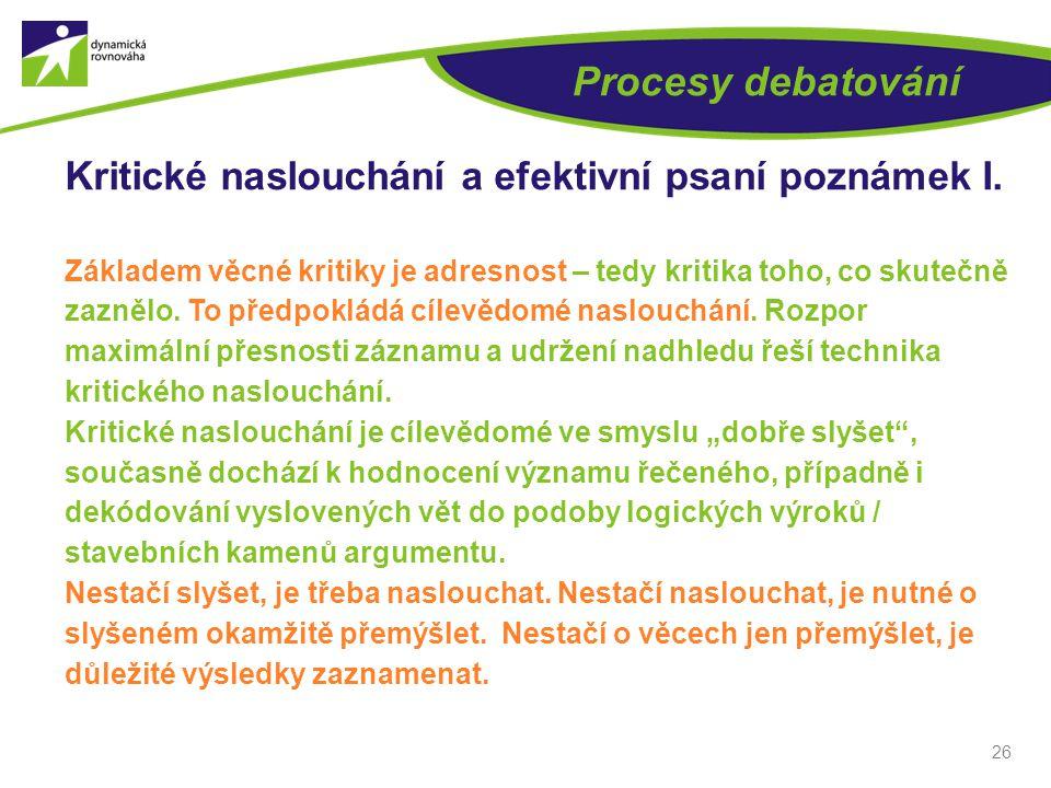 26 Procesy debatování Kritické naslouchání a efektivní psaní poznámek I.