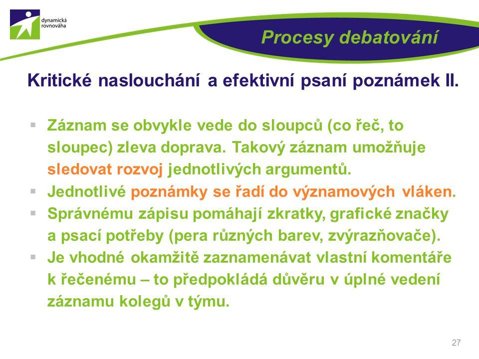 27 Procesy debatování Kritické naslouchání a efektivní psaní poznámek II.