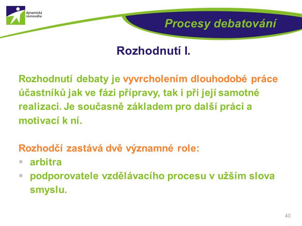 40 Procesy debatování Rozhodnutí I.