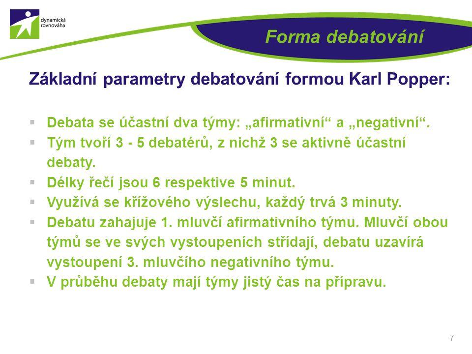"""7 Forma debatování Základní parametry debatování formou Karl Popper:  Debata se účastní dva týmy: """"afirmativní a """"negativní ."""