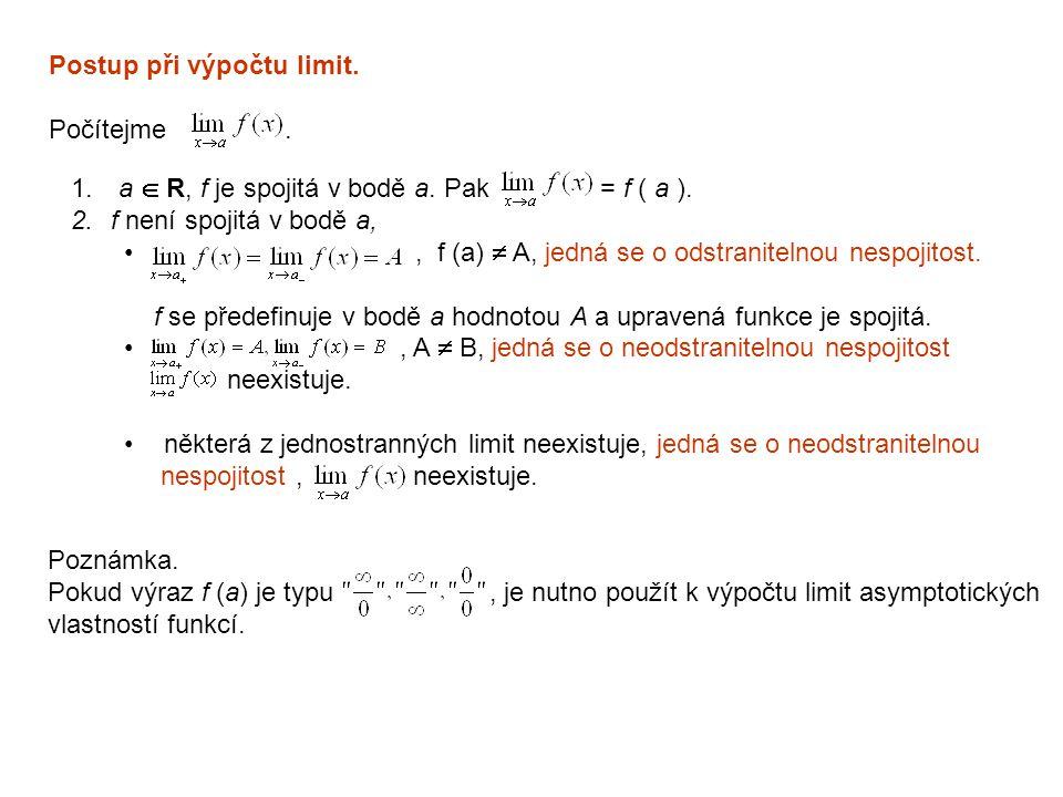 Postup při výpočtu limit. Počítejme. 1. a  R, f je spojitá v bodě a. Pak = f ( a ). 2.f není spojitá v bodě a,, f (a)  A, jedná se o odstranitelnou
