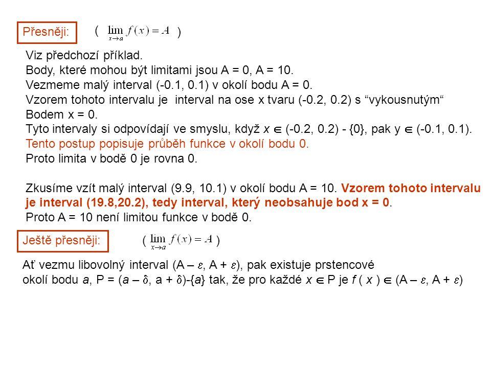 Přesněji: ( ) Viz předchozí příklad. Body, které mohou být limitami jsou A = 0, A = 10. Vezmeme malý interval (-0.1, 0.1) v okolí bodu A = 0. Vzorem t
