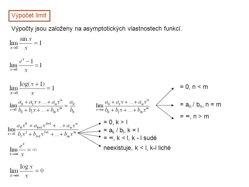 Výpočet limit Výpočty jsou založeny na asymptotických vlastnostech funkcí. = 0, n < m = a n / b n, n = m = ∞, n > m = 0, k > l = a k / b l, k = l = ∞,