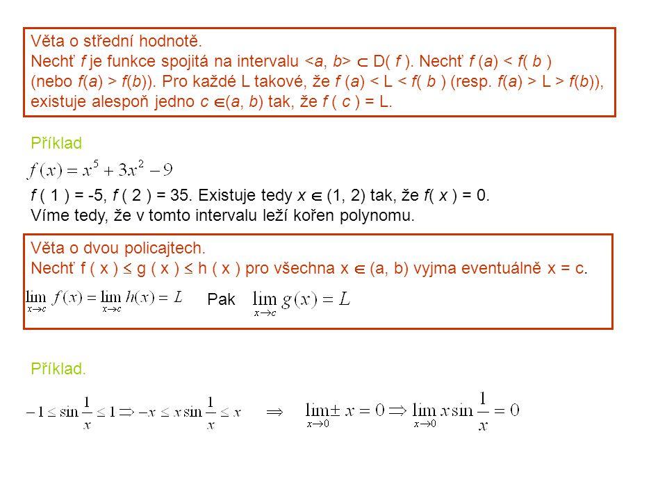 Příklad. Věta o střední hodnotě. Nechť f je funkce spojitá na intervalu  D( f ). Nechť f (a) < f( b ) (nebo f(a) > f(b)). Pro každé L takové, že f (a