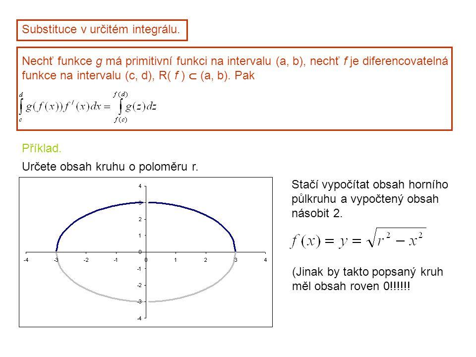 Substituce v určitém integrálu. Nechť funkce g má primitivní funkci na intervalu (a, b), nechť f je diferencovatelná funkce na intervalu (c, d), R( f