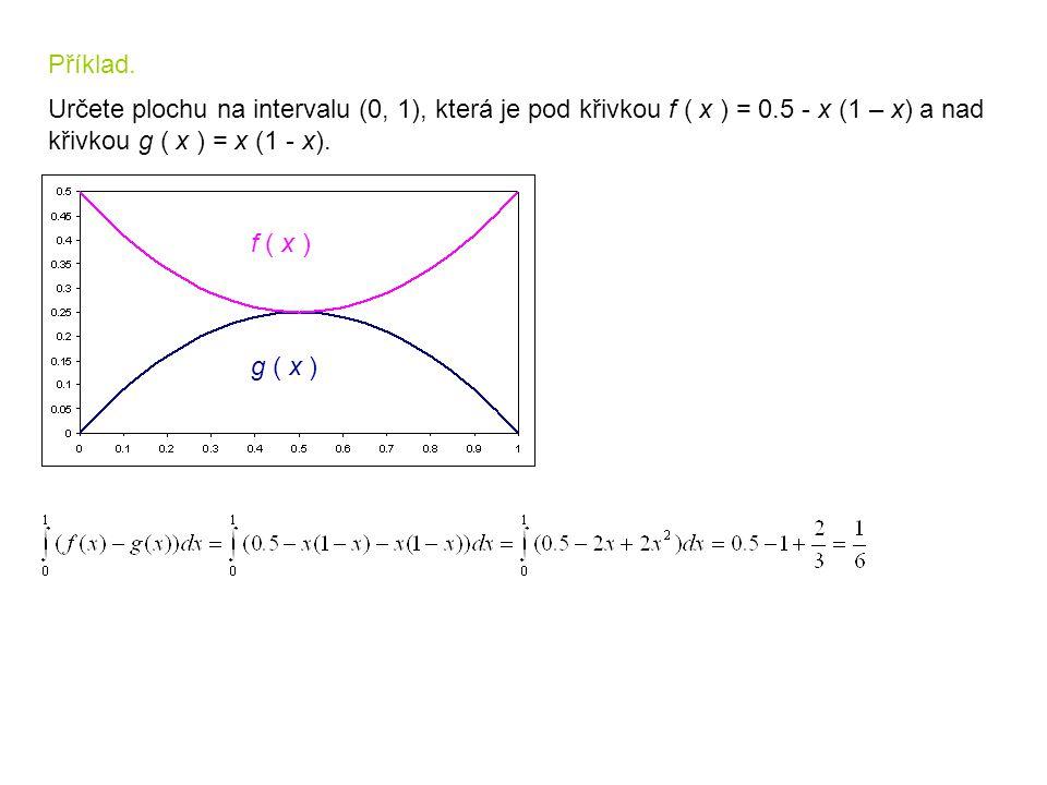Příklad. Určete plochu na intervalu (0, 1), která je pod křivkou f ( x ) = 0.5 - x (1 – x) a nad křivkou g ( x ) = x (1 - x). f ( x ) g ( x )