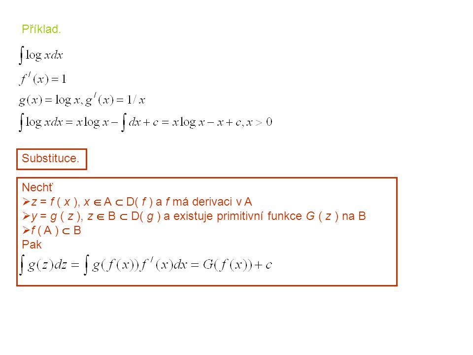 Substituce. Nechť  z = f ( x ), x  A  D( f ) a f má derivaci v A  y = g ( z ), z  B  D( g ) a existuje primitivní funkce G ( z ) na B  f ( A )