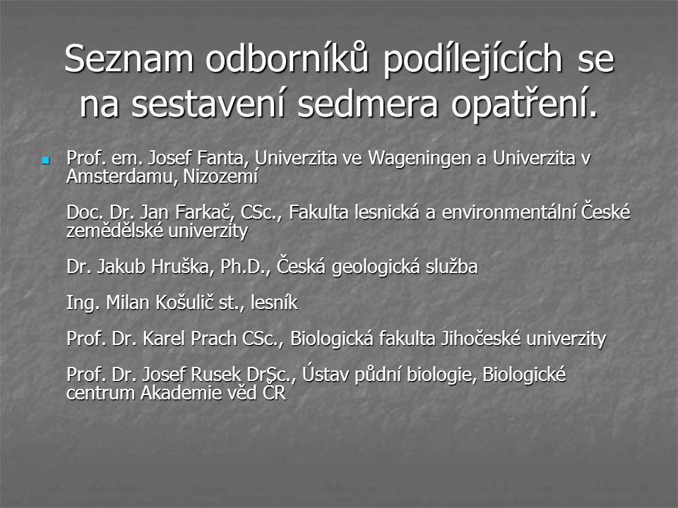 Seznam odborníků podílejících se na sestavení sedmera opatření. Prof. em. Josef Fanta, Univerzita ve Wageningen a Univerzita v Amsterdamu, Nizozemí Do