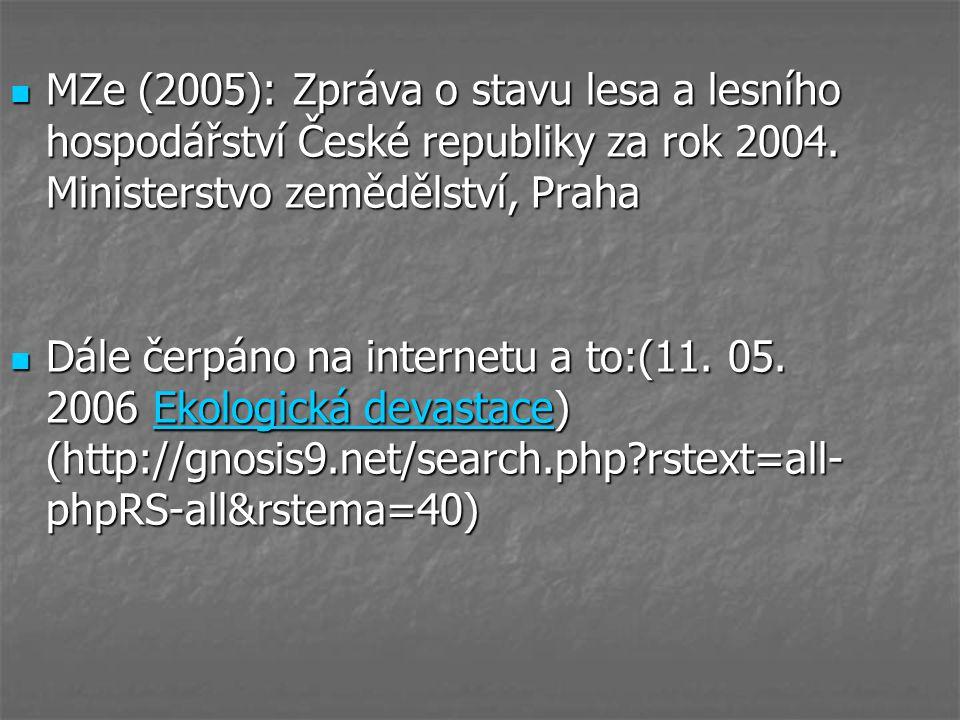MZe (2005): Zpráva o stavu lesa a lesního hospodářství České republiky za rok 2004. Ministerstvo zemědělství, Praha MZe (2005): Zpráva o stavu lesa a