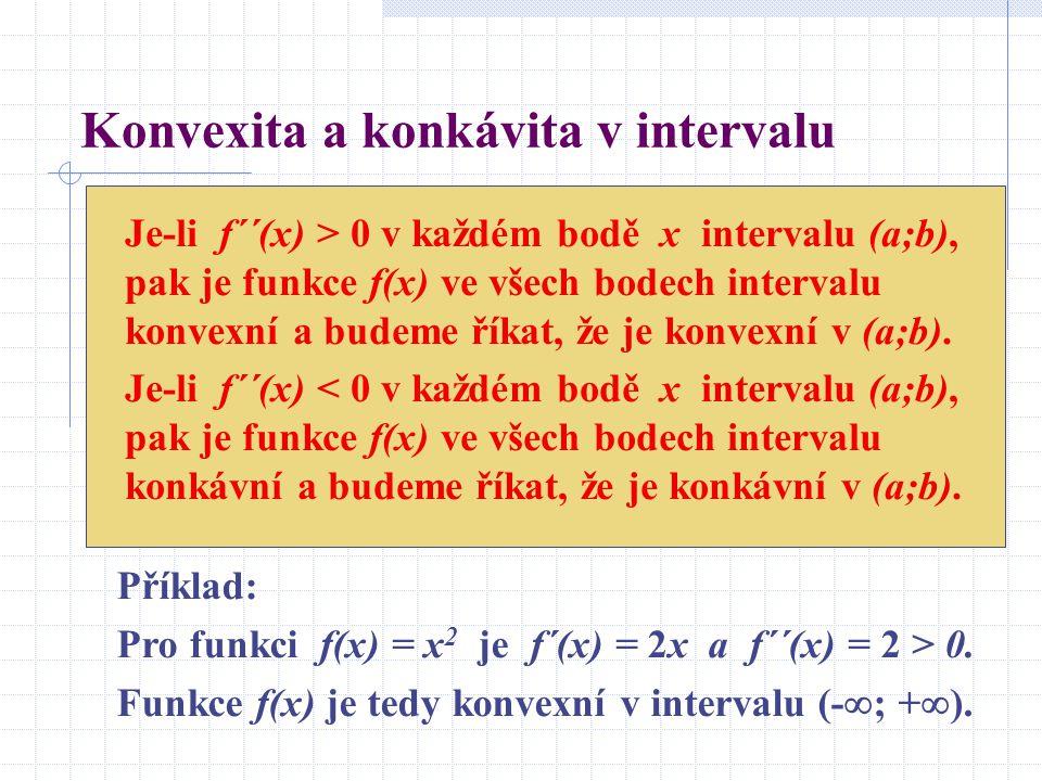 Konvexita a konkávita v intervalu Je-li f´´(x) > 0 v každém bodě x intervalu (a;b), pak je funkce f(x) ve všech bodech intervalu konvexní a budeme říkat, že je konvexní v (a;b).