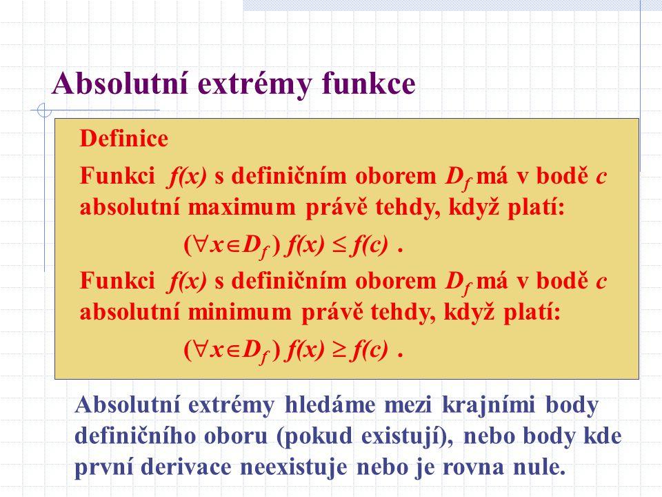 Absolutní extrémy funkce Definice Funkci f(x) s definičním oborem D f má v bodě c absolutní maximum právě tehdy, když platí: (  x  D f ) f(x)  f(c).