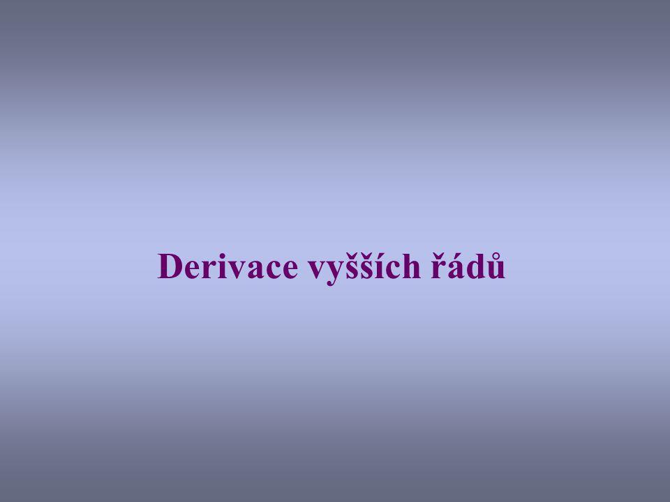 Derivace derivací Již víme, že derivace funkce f(x) je opět funkce: Můžeme tedy postupně derivovat dále: Vyšší derivace se označují exponenty v závorkách.