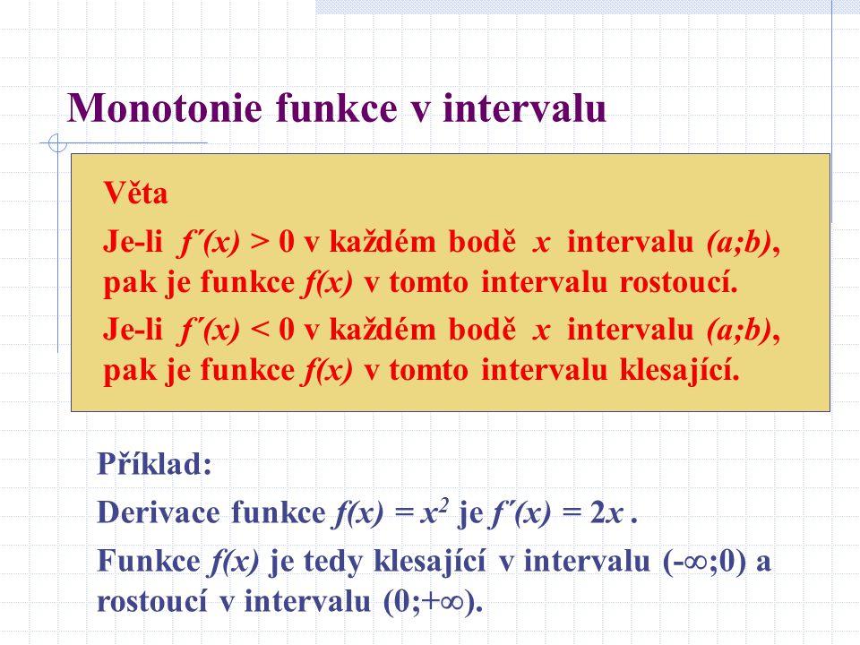 Souvislost druhé derivace a konvexnosti či konkávnosti funkce