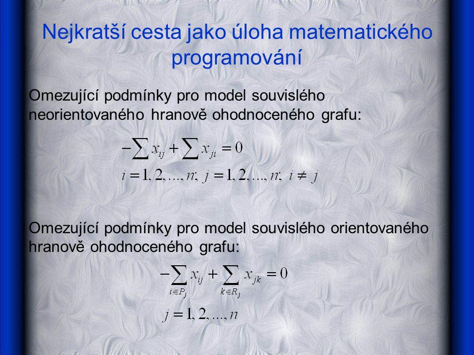 Nejkratší cesta jako úloha matematického programování Omezující podmínky pro model souvislého neorientovaného hranově ohodnoceného grafu: Omezující podmínky pro model souvislého orientovaného hranově ohodnoceného grafu: