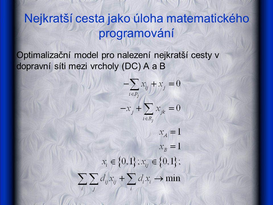 Nejkratší cesta jako úloha matematického programování Optimalizační model pro nalezení nejkratší cesty v dopravní síti mezi vrcholy (DC) A a B