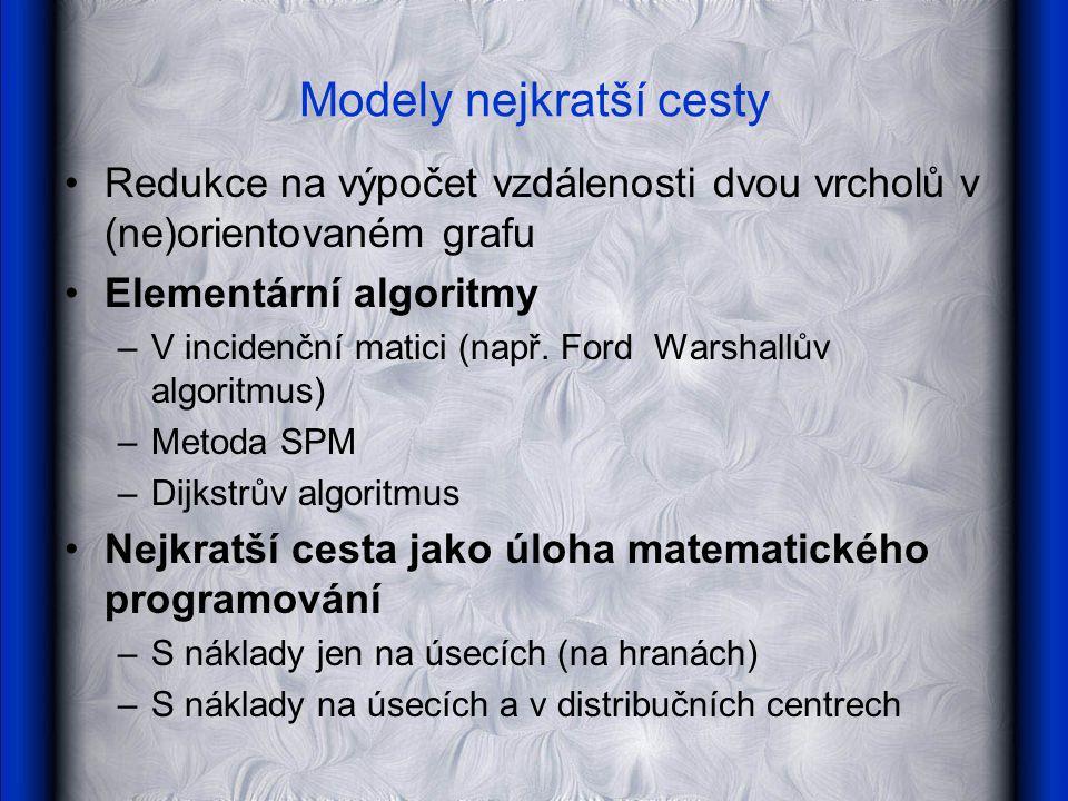 Modely nejkratší cesty Redukce na výpočet vzdálenosti dvou vrcholů v (ne)orientovaném grafu Elementární algoritmy –V incidenční matici (např.