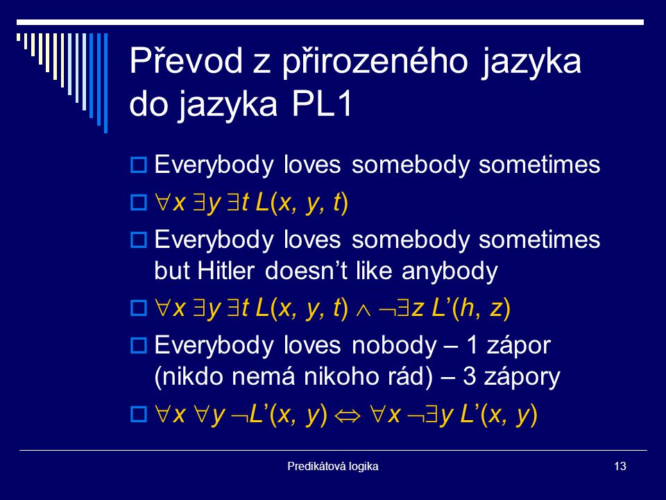 Predikátová logika13 Převod z přirozeného jazyka do jazyka PL1  Everybody loves somebody sometimes   x  y  t L(x, y, t)  Everybody loves somebody sometimes but Hitler doesn't like anybody   x  y  t L(x, y, t)   z L'(h, z)  Everybody loves nobody – 1 zápor (nikdo nemá nikoho rád) – 3 zápory   x  y  L'(x, y)   x  y L'(x, y)