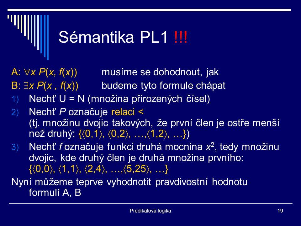 Predikátová logika19 Sémantika PL1 !!.