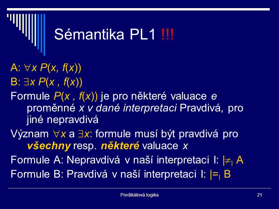 Predikátová logika21 Sémantika PL1 !!.