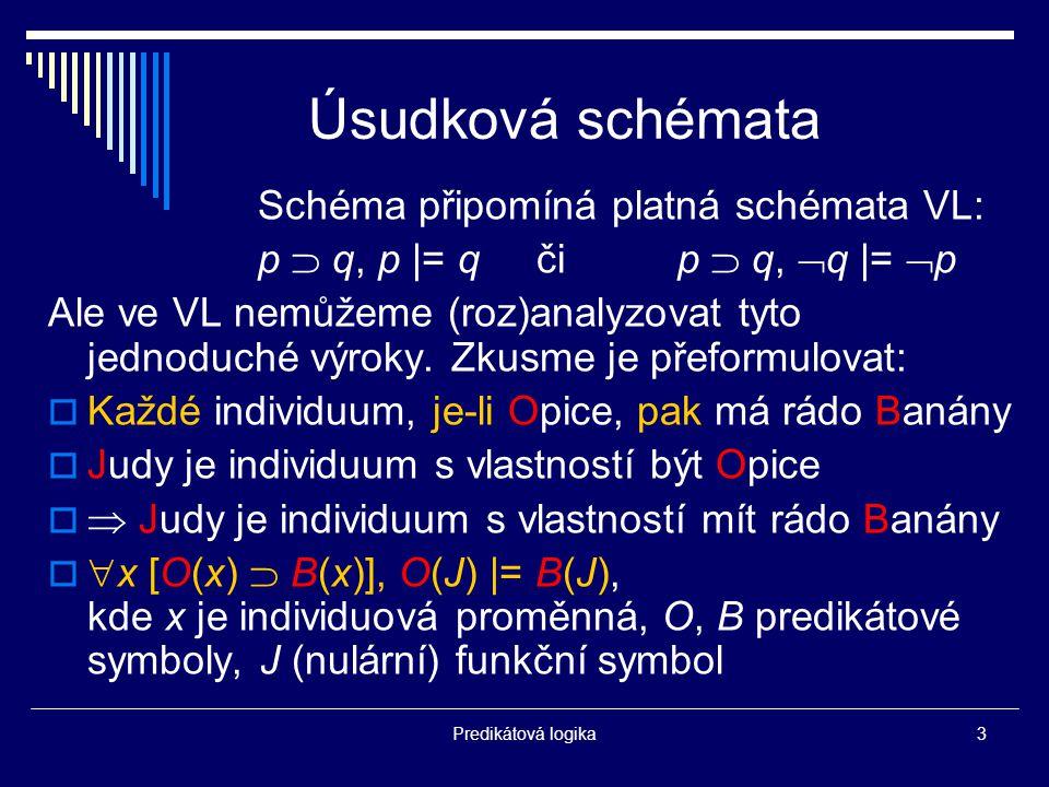 Predikátová logika3 Úsudková schémata Schéma připomíná platná schémata VL: p  q, p |= q či p  q,  q |=  p Ale ve VL nemůžeme (roz)analyzovat tyto jednoduché výroky.