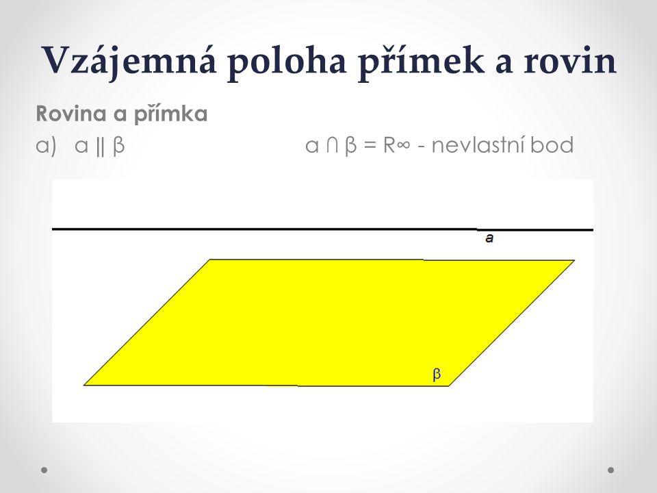 Vzájemná poloha přímek a rovin Rovina a přímka a) a ‖ β a ∩ β= R∞ - nevlastní bod